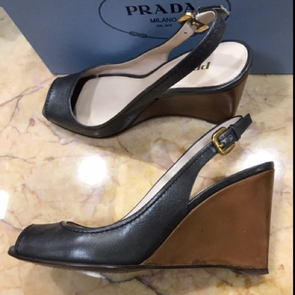 Prada Slingback Peep-Toe Wedges release dates sale new visit for sale fpdW62